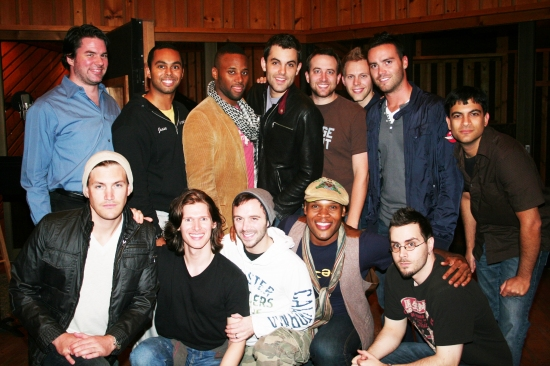 Jesse Nager, Maurice Murphy, Landon Beard, Lucas Steele, Zak Resnick, Danny Calvert, Michael James Scott, Peter Matthew Smith, Robb Killenberger, Dan Asher, Justin Paul, Drew McKeon and Ryan Parrino at Broadway Boys CD Recording Session
